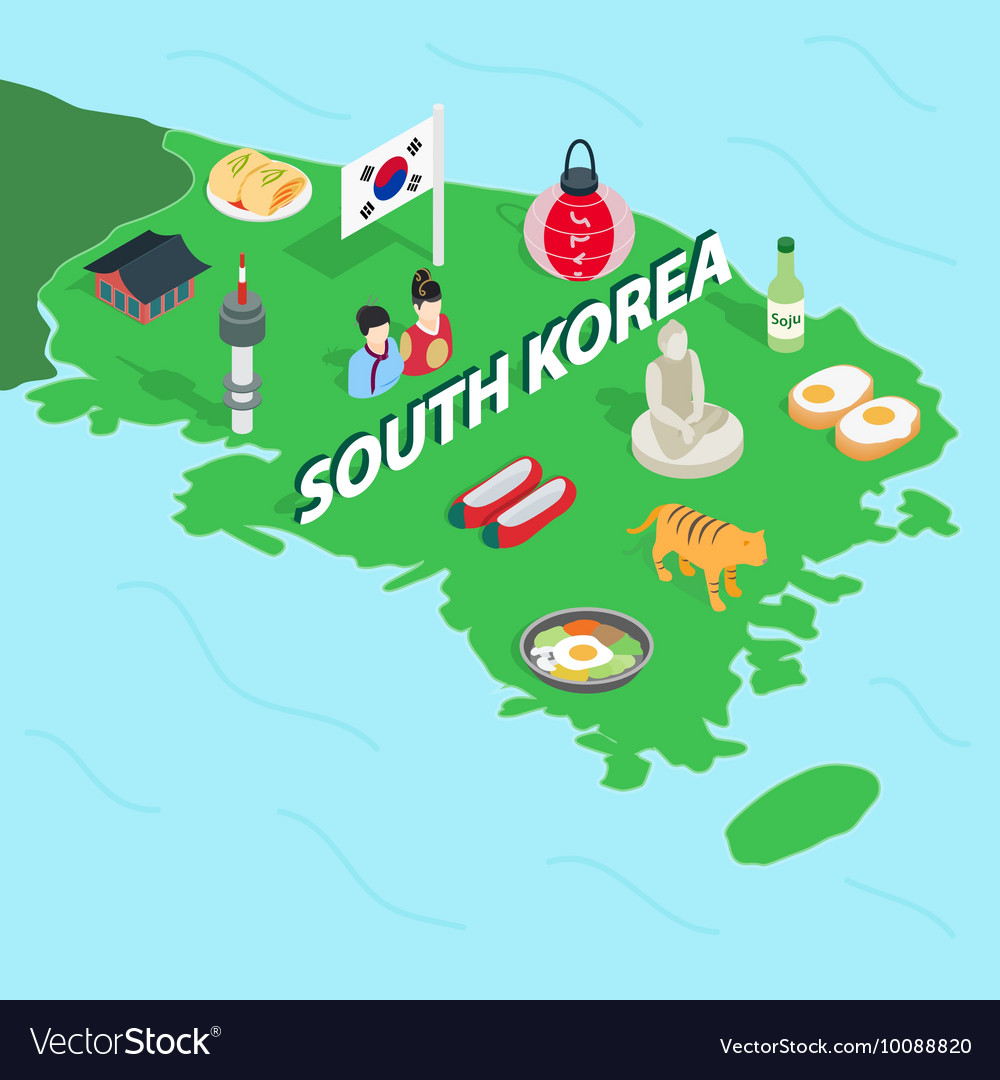 South korea map isometric 3d style vector