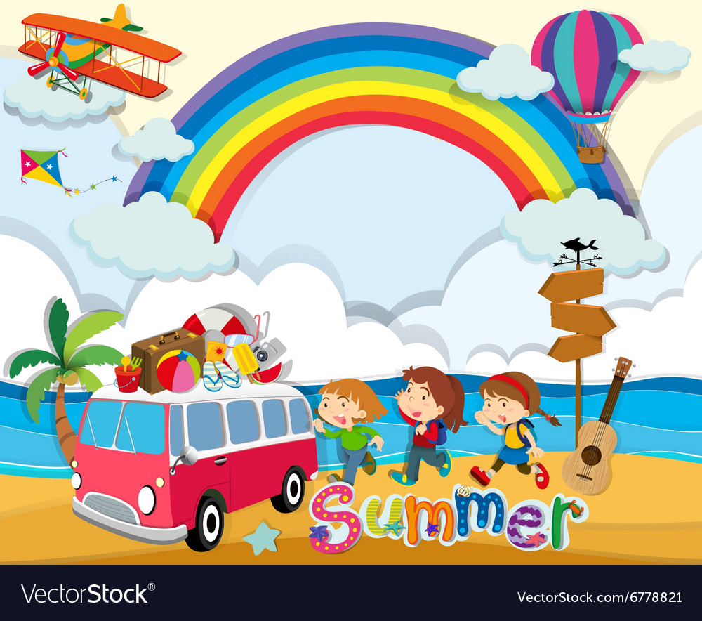 Summer theme with children and van vector