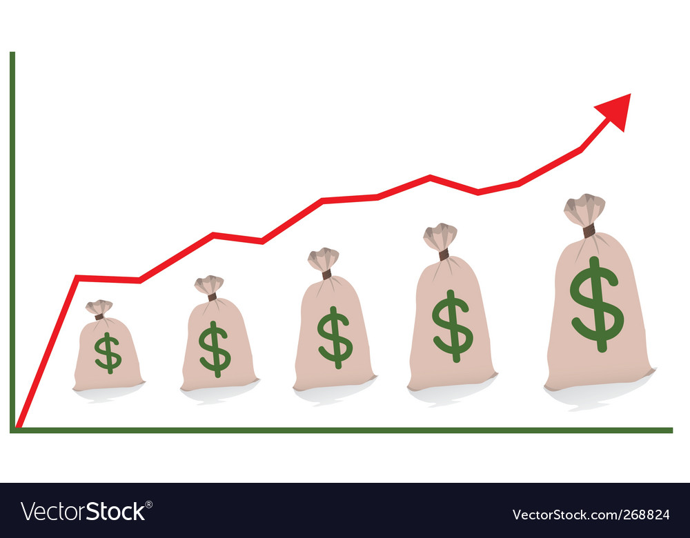 Chart with money bags vector