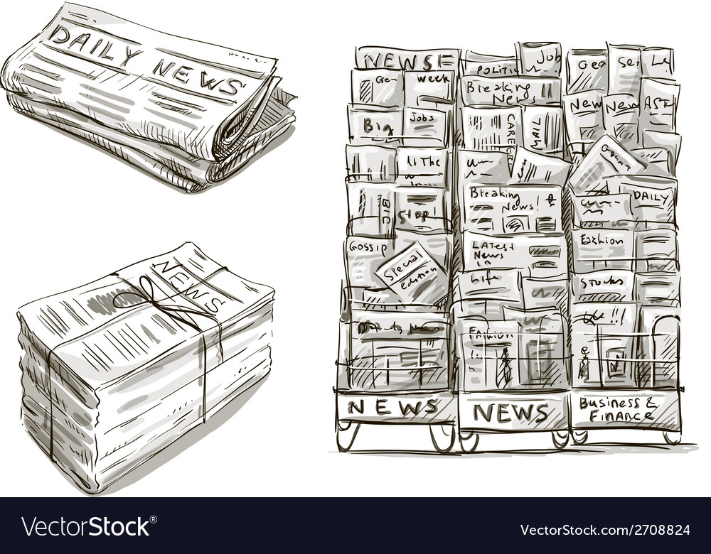 Press newspaper stand vector