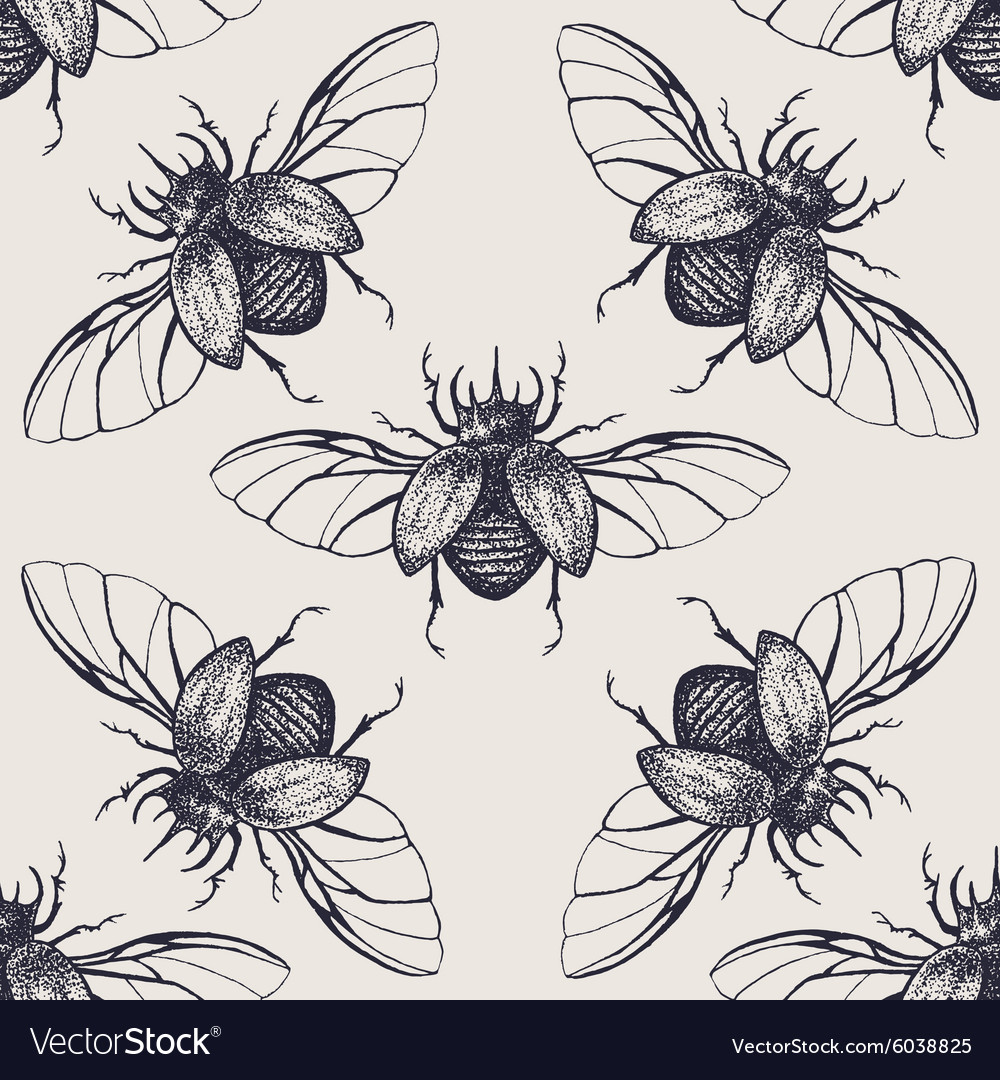 Beetles with wings vintage seamless pattern vector