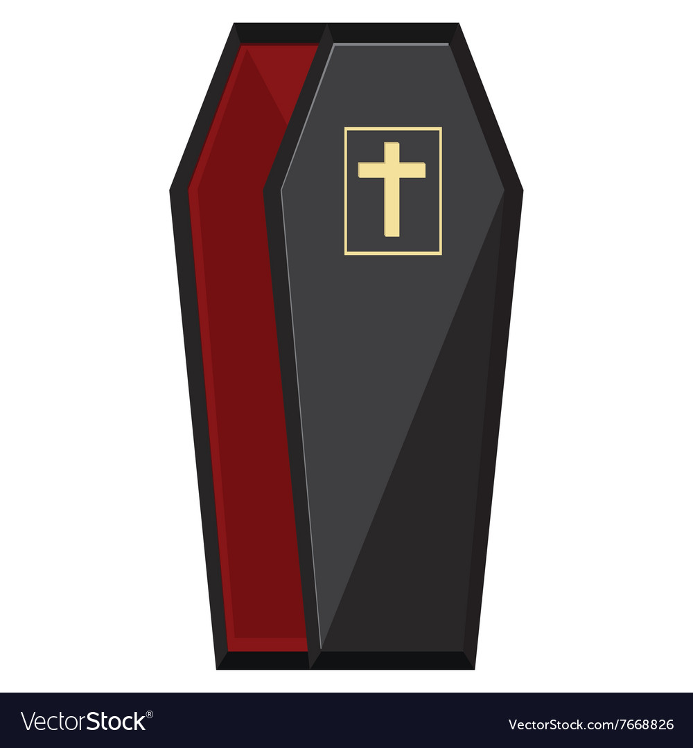 Black coffin with cross vector