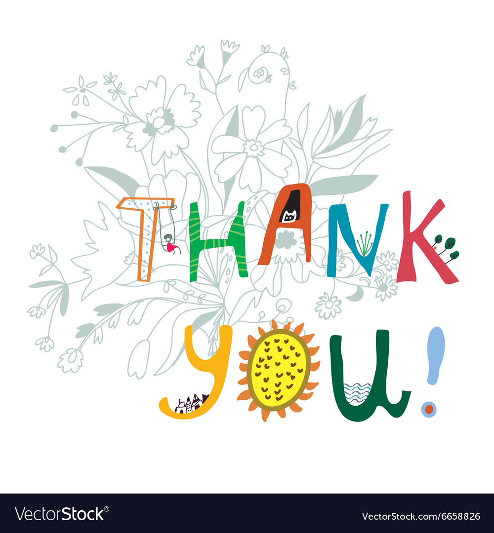 Thank you print with flowers and lettering vector