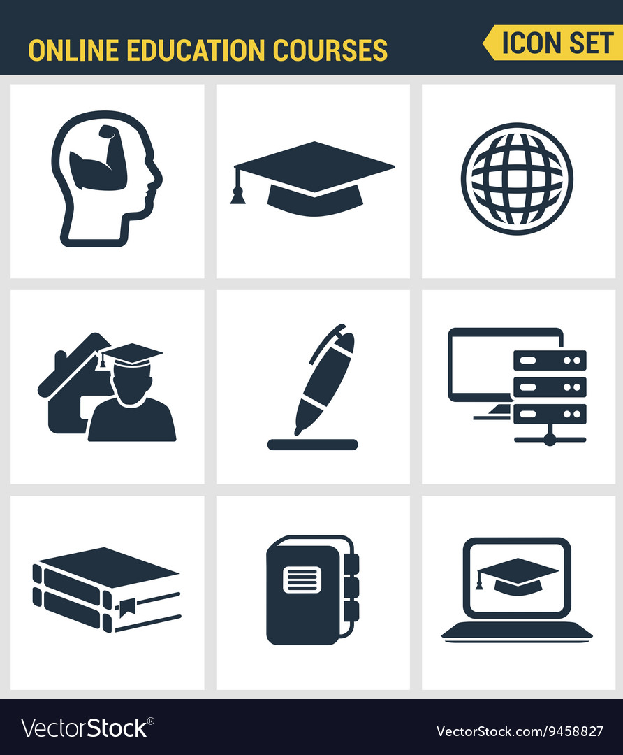 Icons set premium quality of online education vector