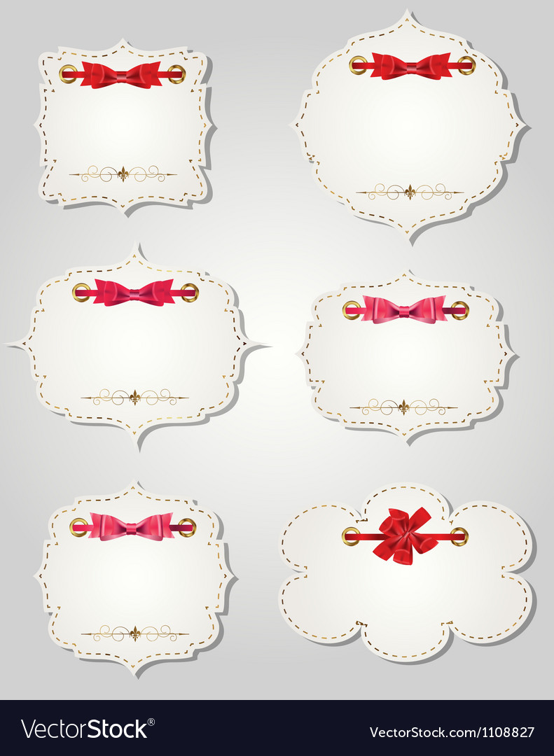 Set of different gift cards with ribbons design vector