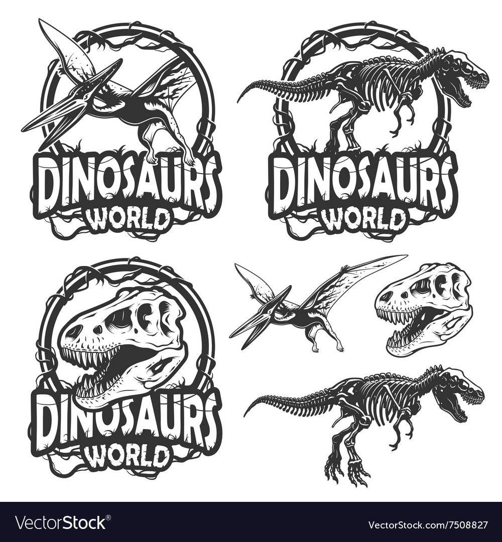Set of dinosaurs world emblems vector