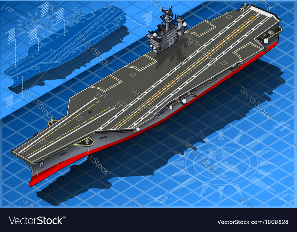Isometric aircraft carrier in front view vector
