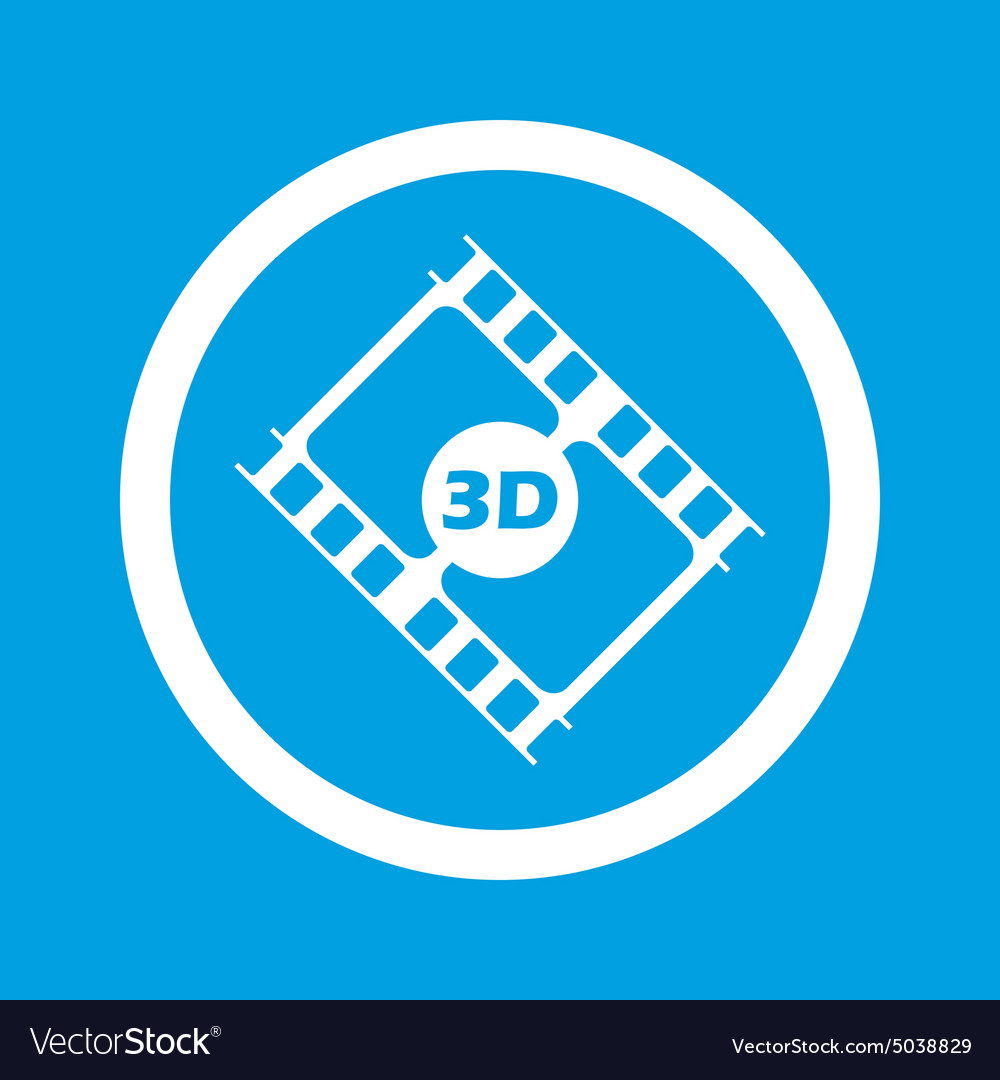 3d movie sign icon vector