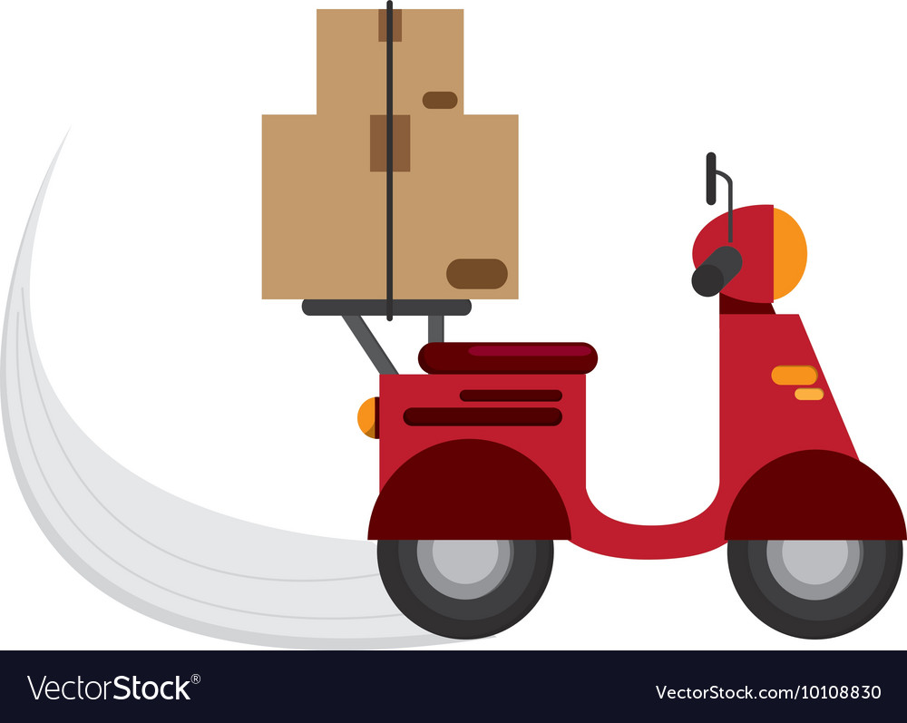 Scooter delivering boxes icon vector
