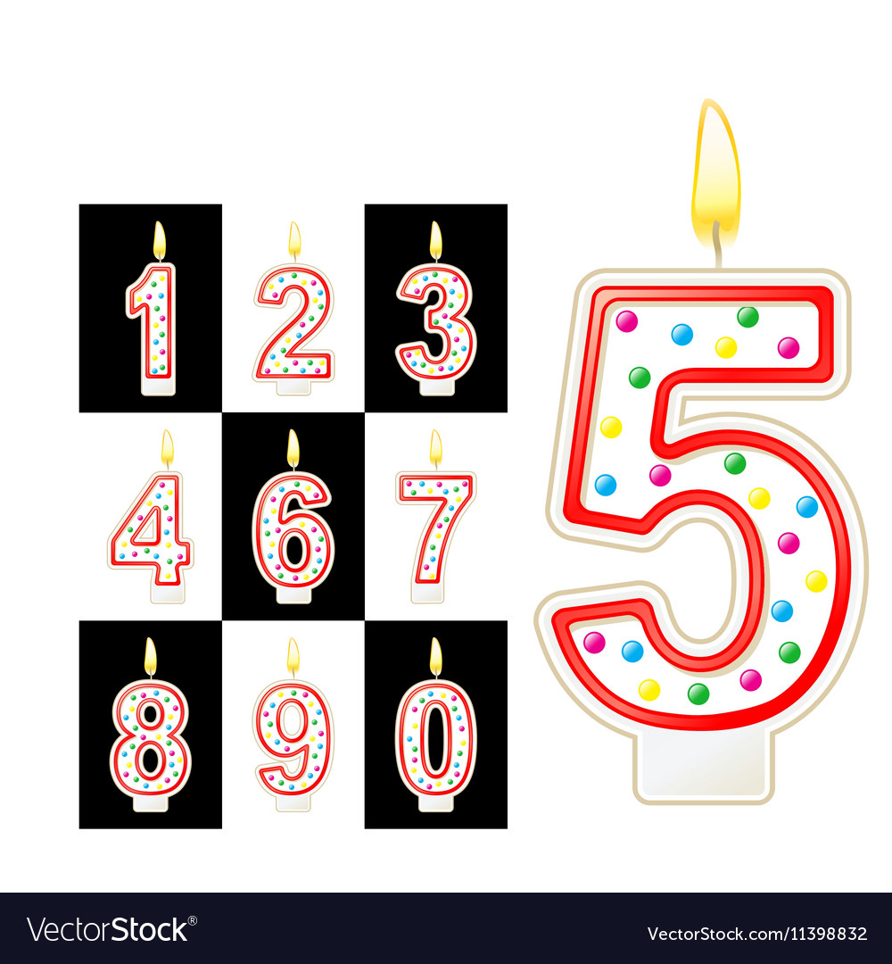 Birthday candles number red vector