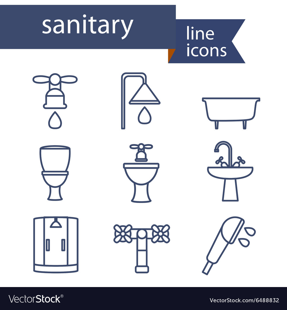 Set of line icons for diy sanitary engineering vector