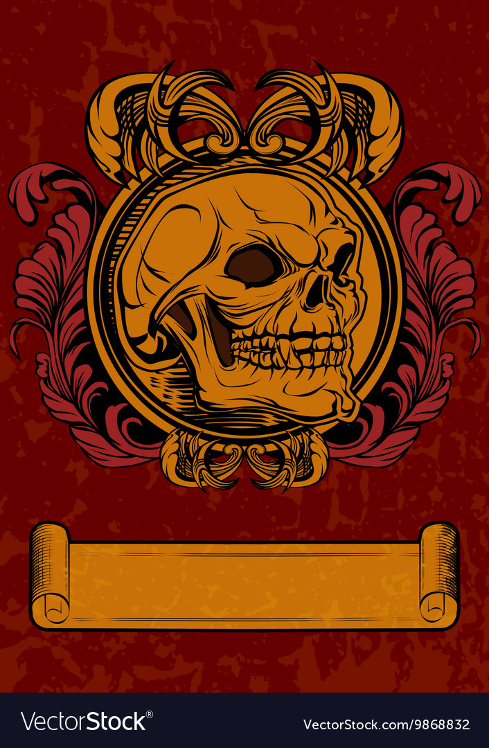 Skull in retro style with vector