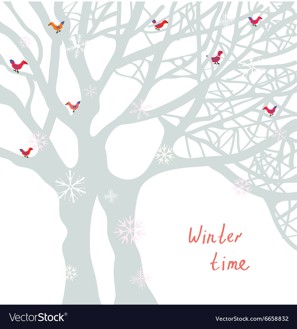 Winter time christmas card with tree and birds vector