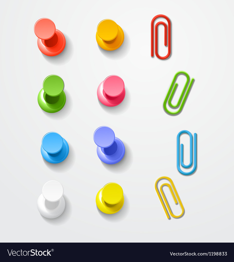 Color pins and clips collection vector