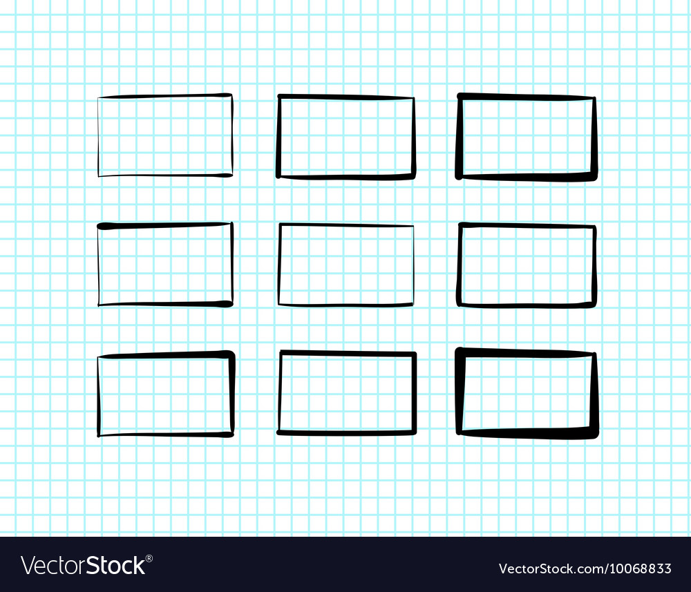 Handdrawn rectangles and text boxes vector