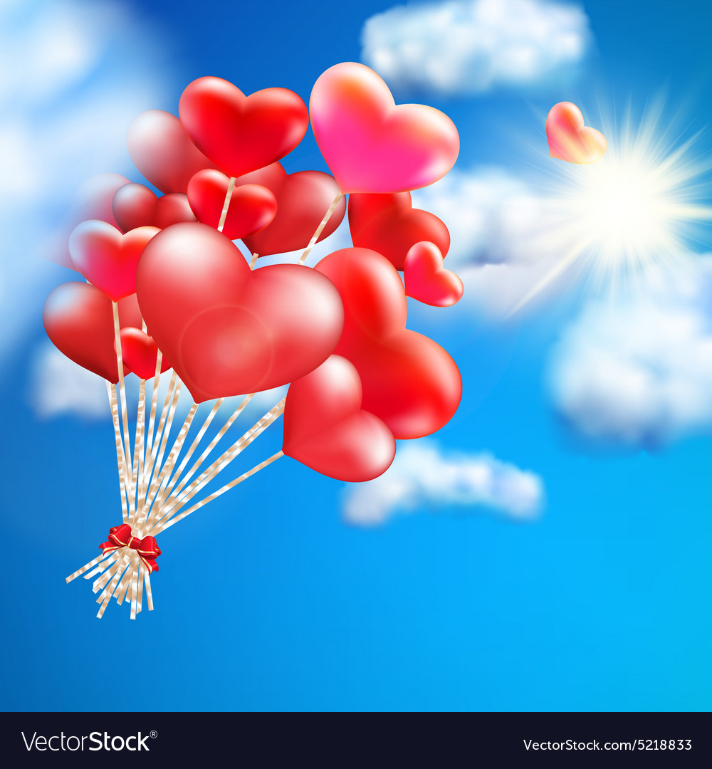 Heartshaped baloon in the sky eps 10 vector