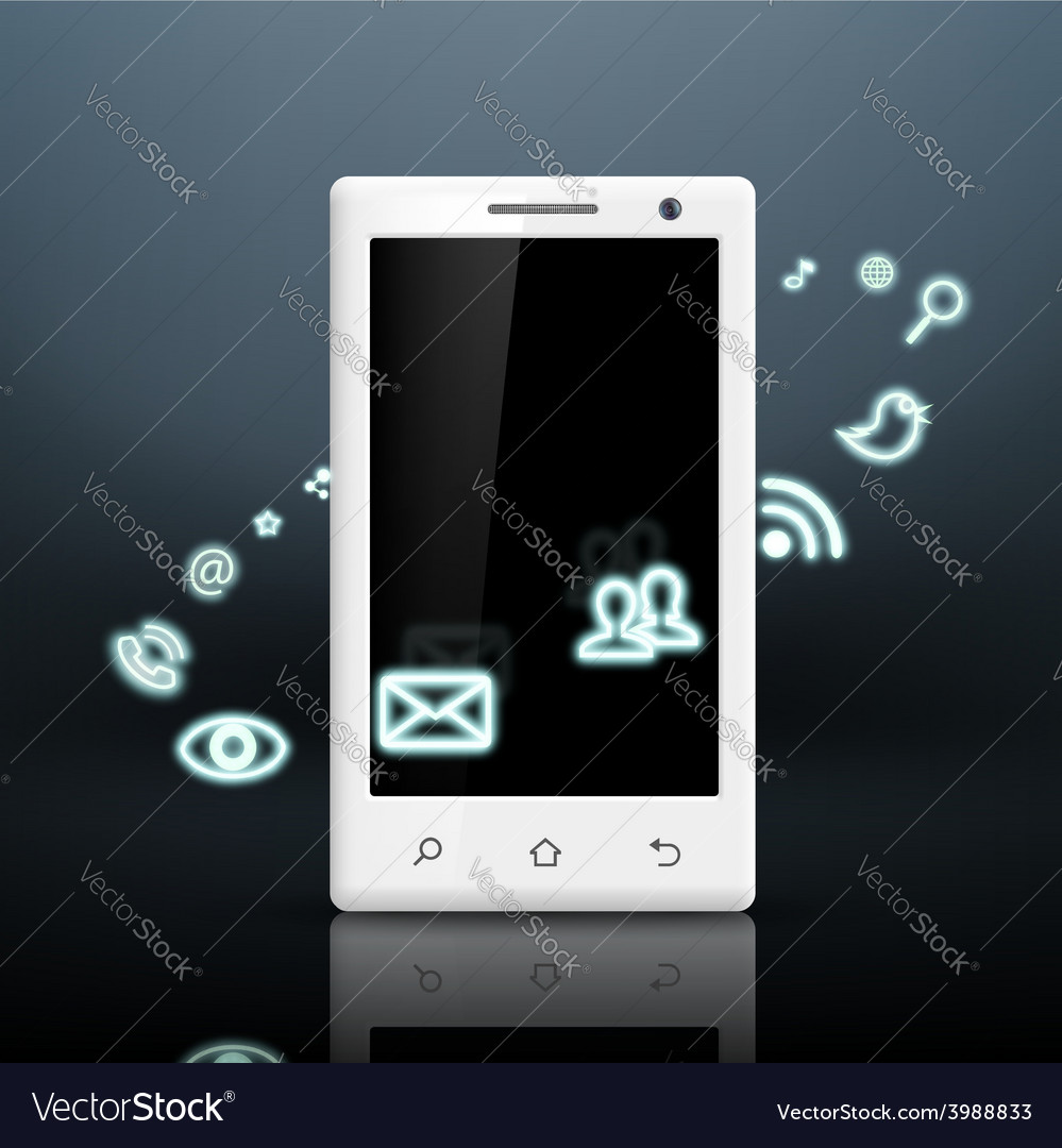 Multimedia icons around the white smartphone vector