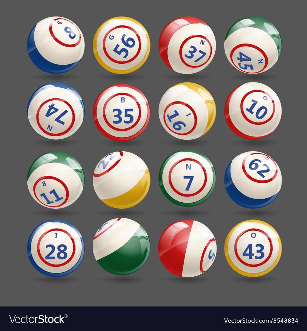 Big set of lottery bingo balls vector