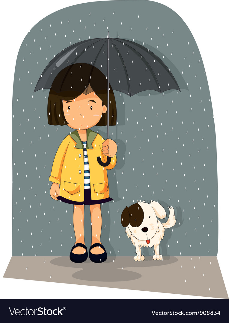 Girl with dog vector