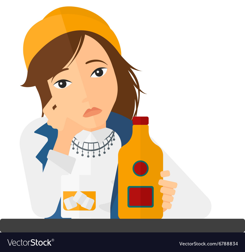Sad woman with bottle and glass vector