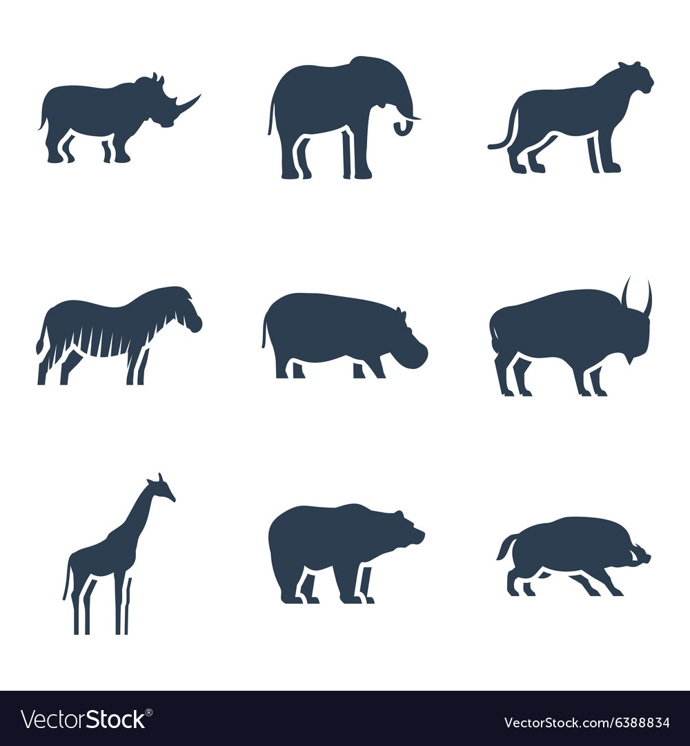 Wild animals icon vector