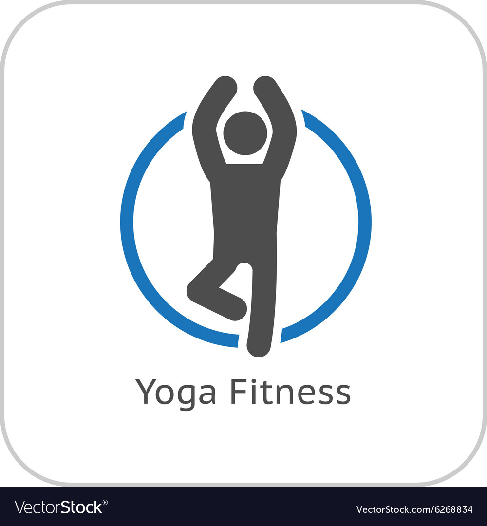 Yoga fitness icon flat design vector