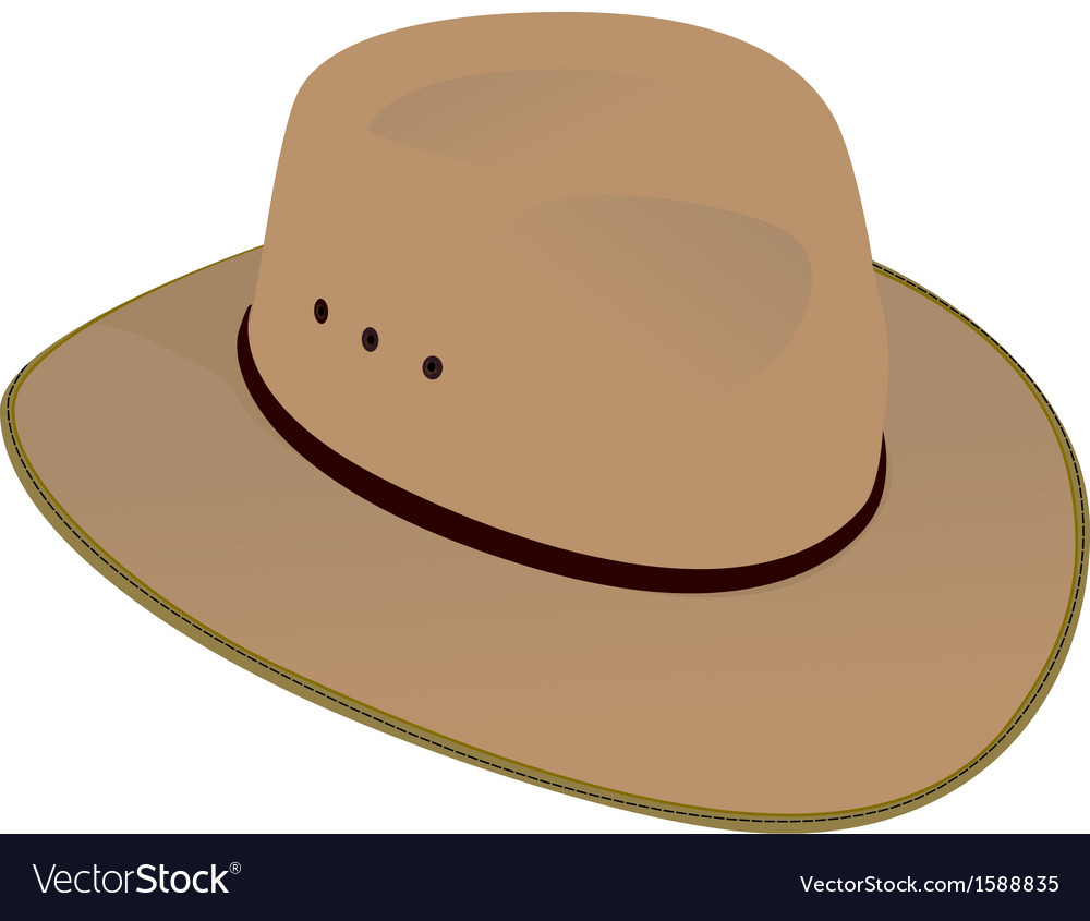 Australian wide brim hat vector