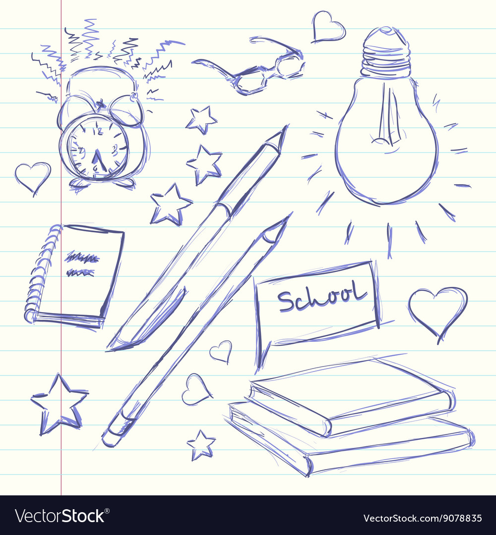 Hand drawn back to school alarm clock glasses vector