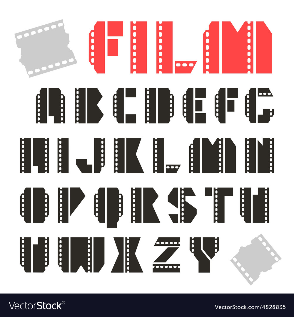 Sans serif decorative font film vector