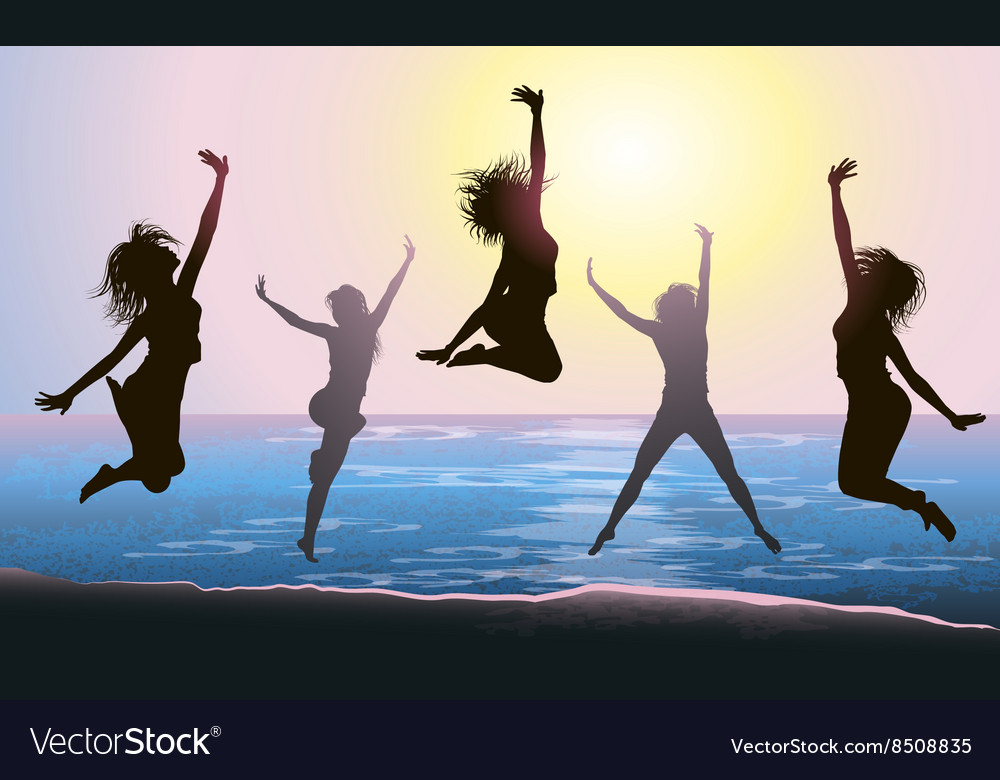 Silhouettes of girls jumping on the beach vector