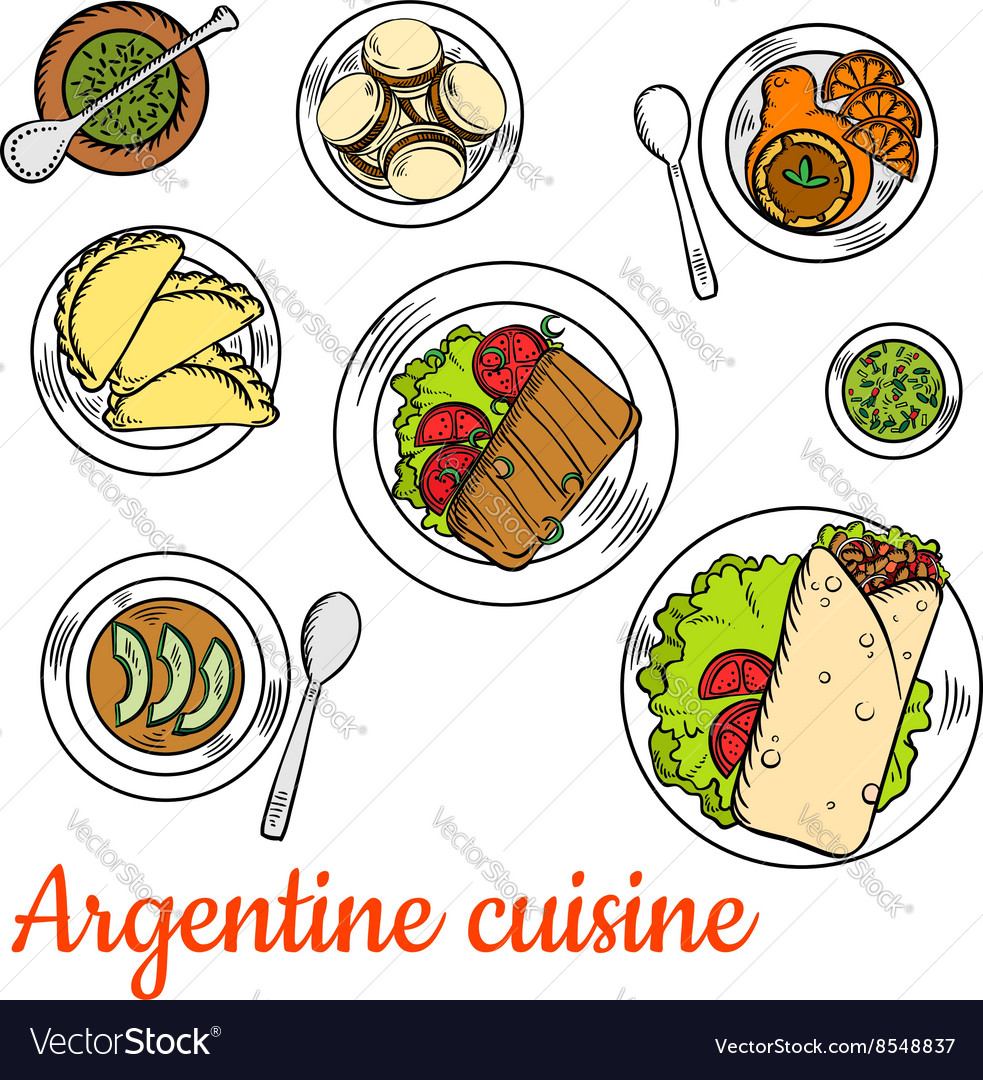 Bright national dishes of argentine cuisine sketch vector