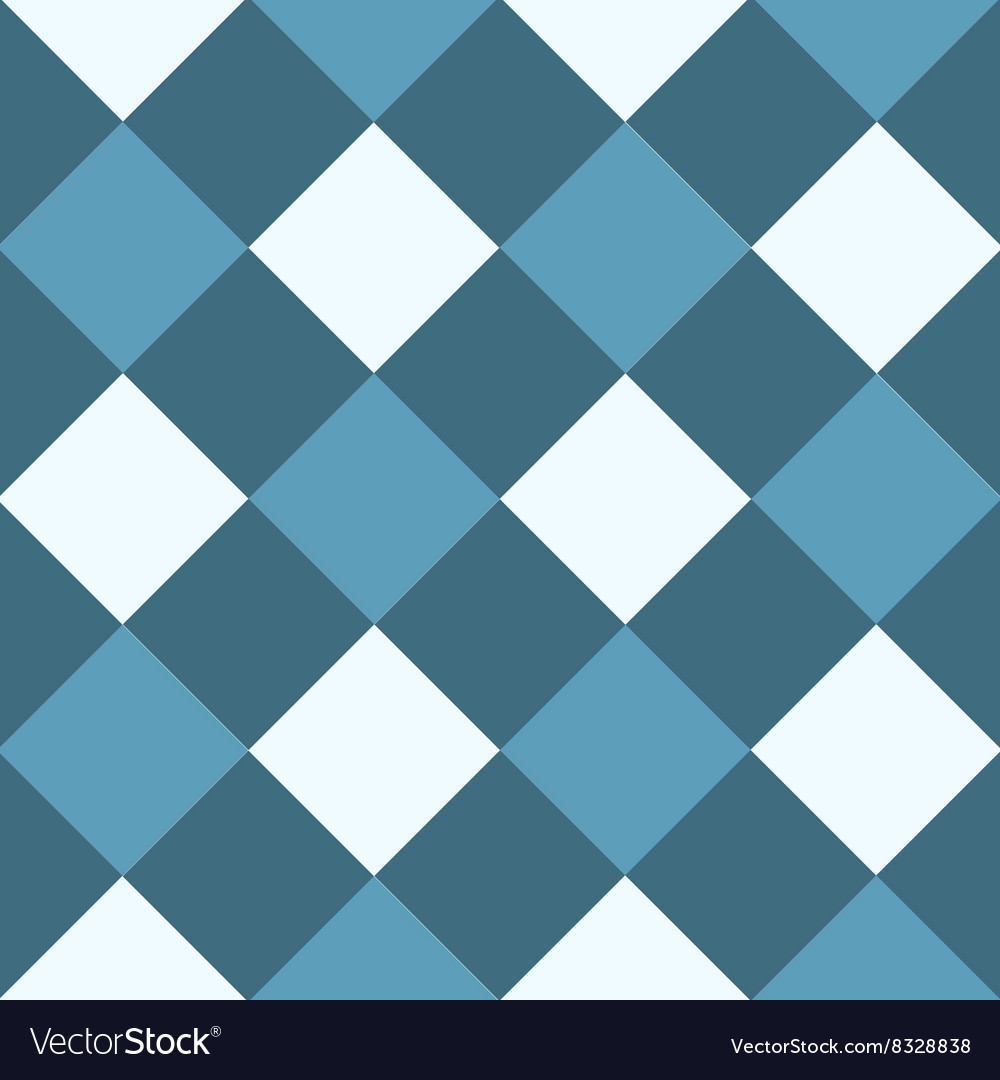 Ocean blue white diamond chessboard background vector