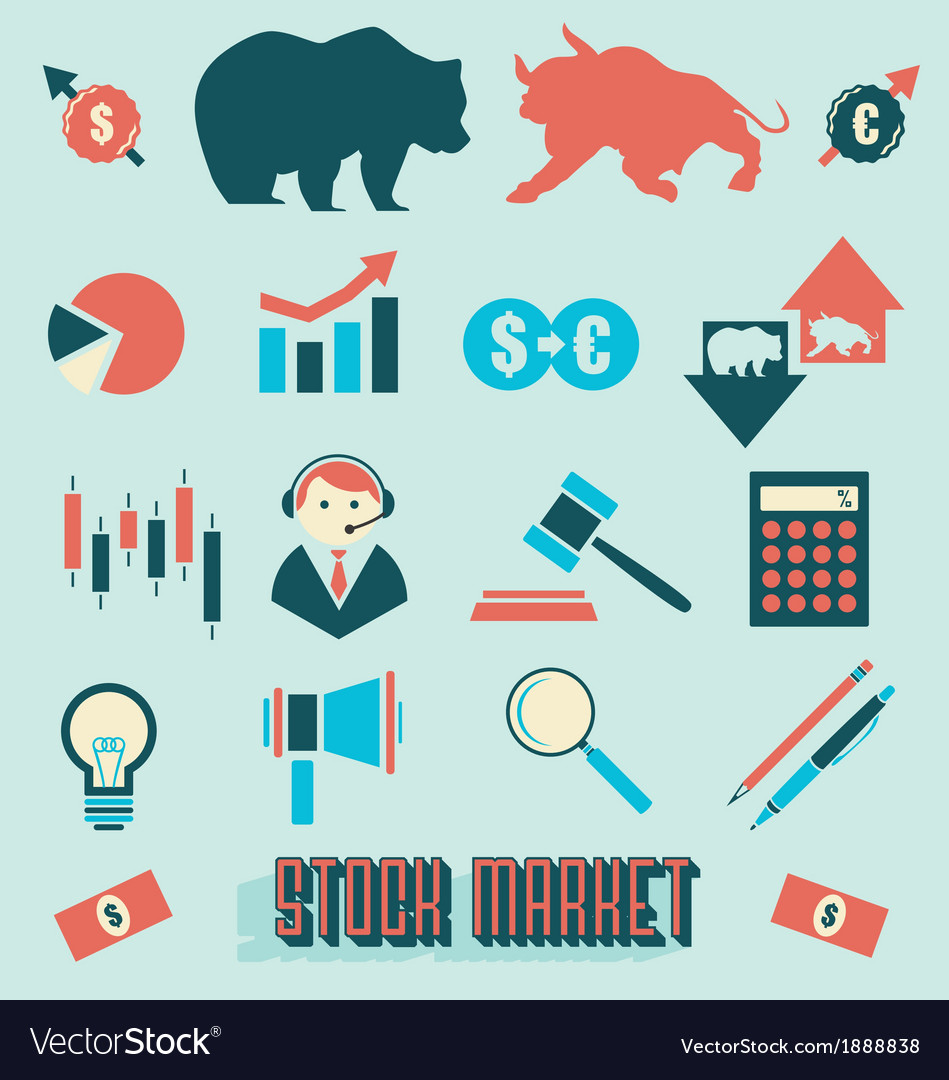 Stock market icons and symbols vector