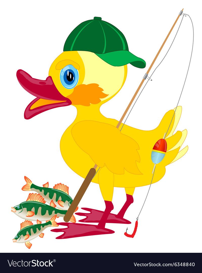 Duckling fisherman with fishing rod vector