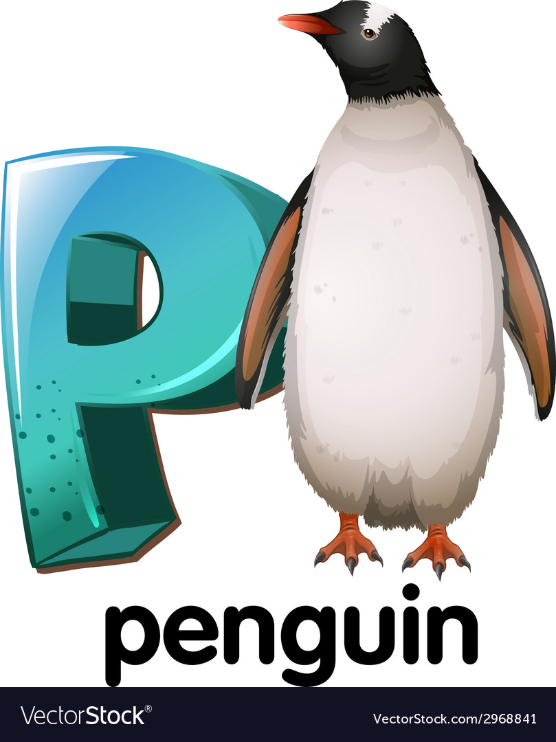 A letter p for penguin vector