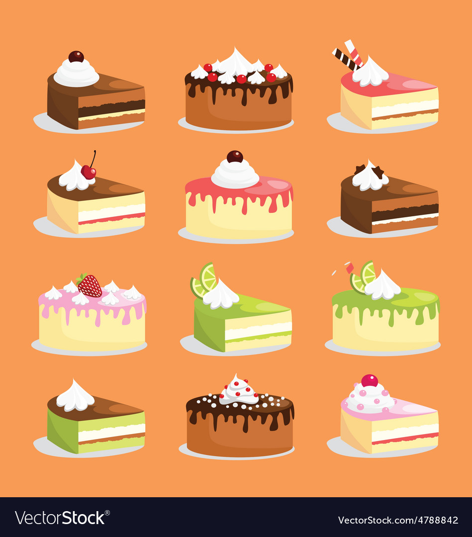 Cakes and pastry icons vector