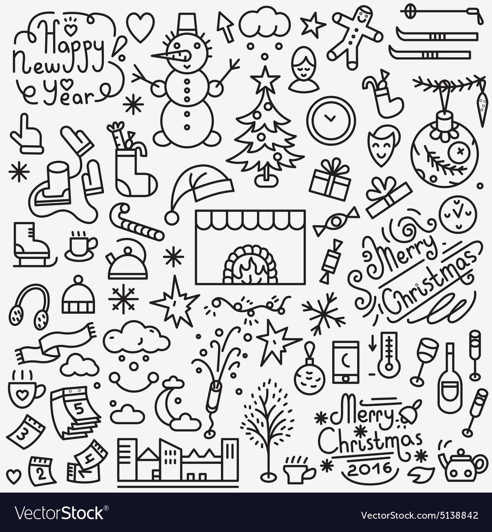 Winter holidays icons set vector