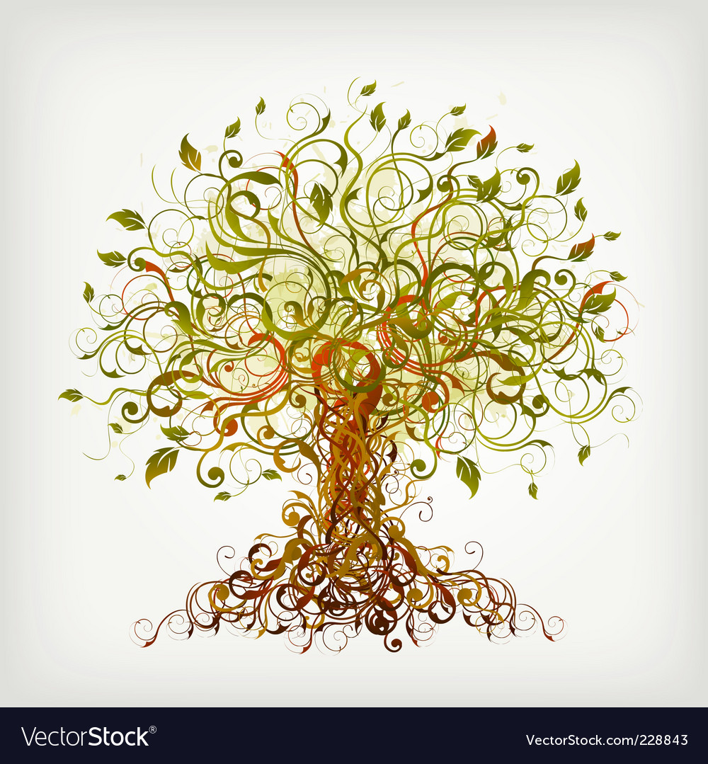 Curly tree vector
