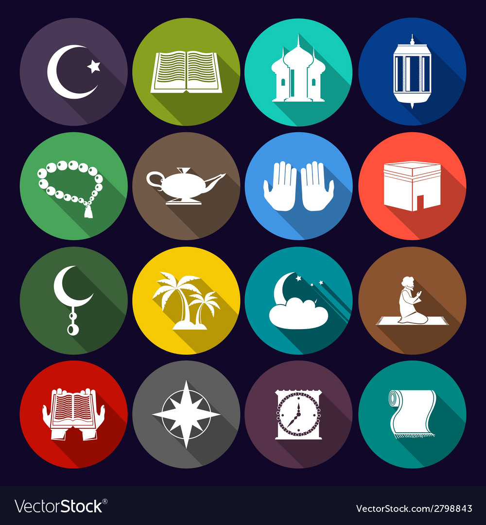 Islam icons set flat vector