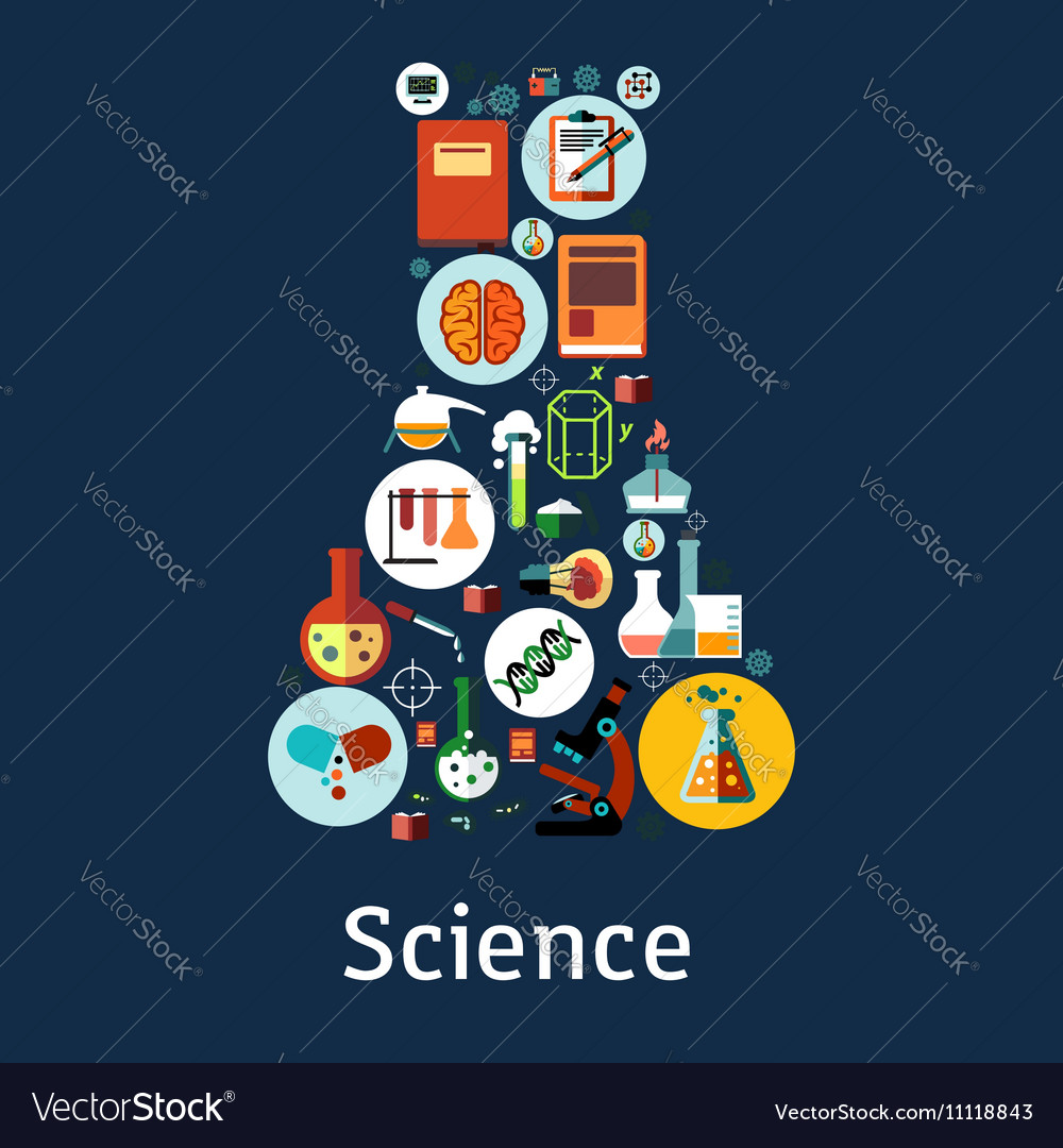 Laboratory flask badge with science research icons vector