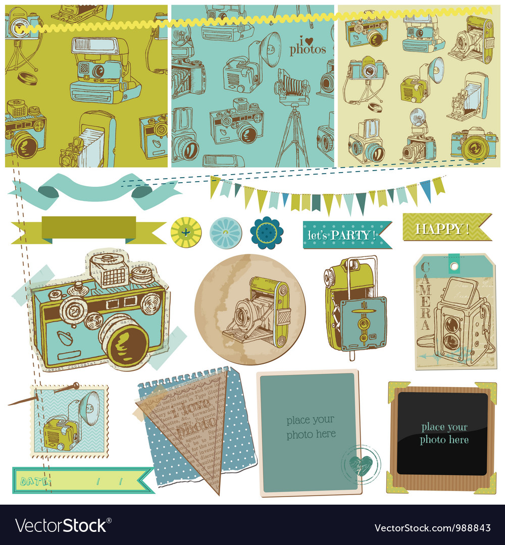 Scrapbook design elements  vintage photo camera vector
