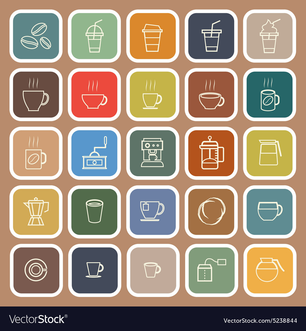 Coffee line flat icons on brown background vector