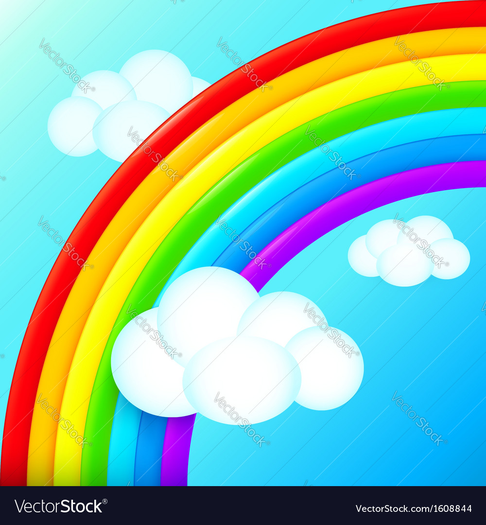 Vibrant rainbow in sky with white clouds vector