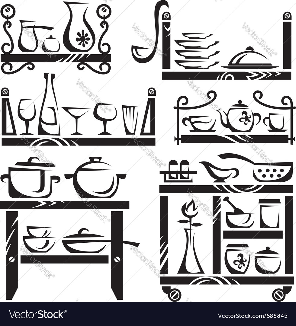 Kitchen utensils on shelves vector