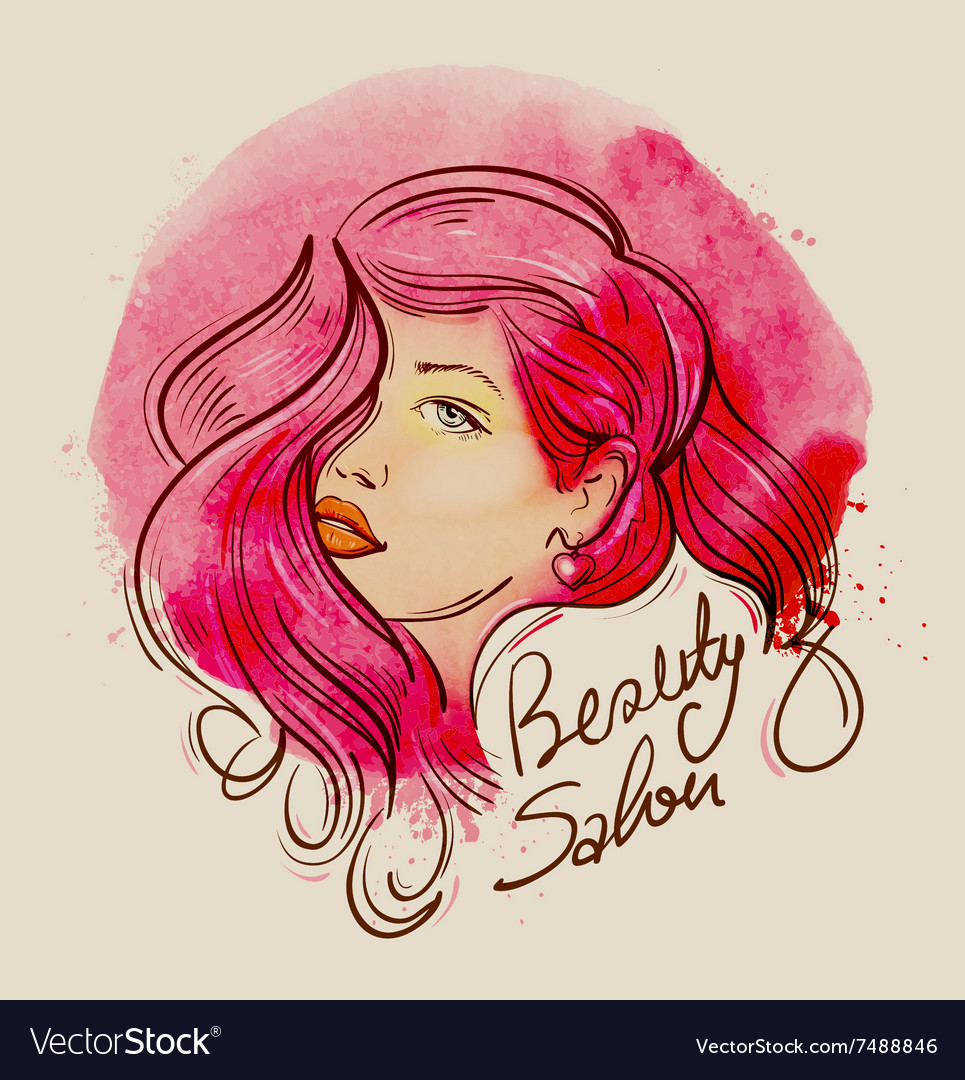 Beauty handdrawn face of a beautiful girl with vector