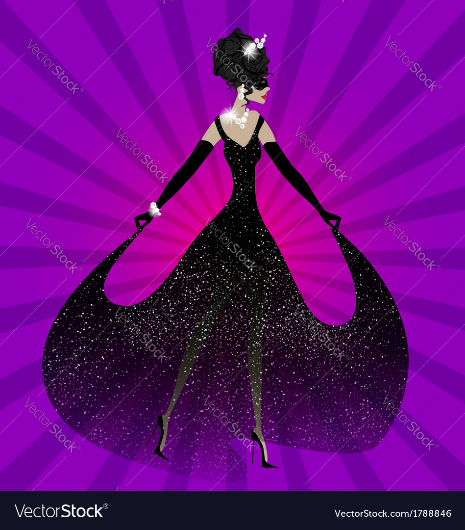 Lady in black dress vector