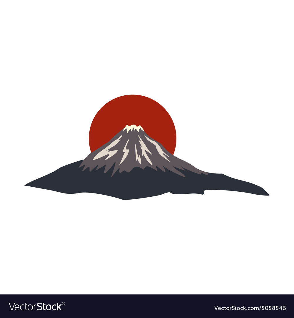 Sacred mountain of fuji japan icon vector