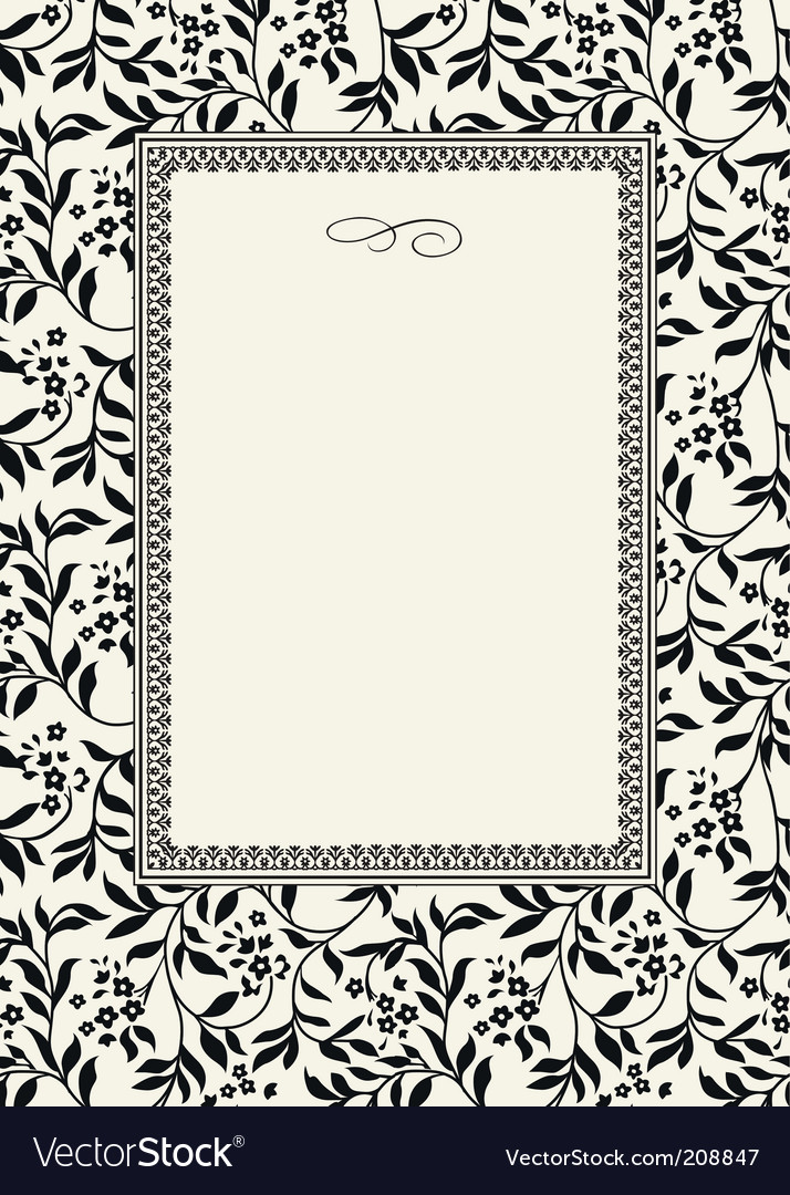 Seamless ivy pattern and frame vector