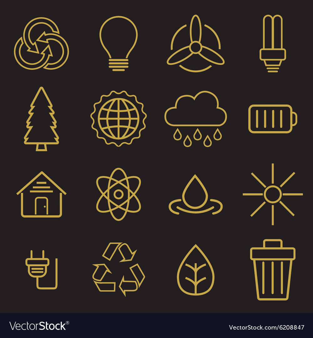 Set of universal modern thin line ecology icons vector