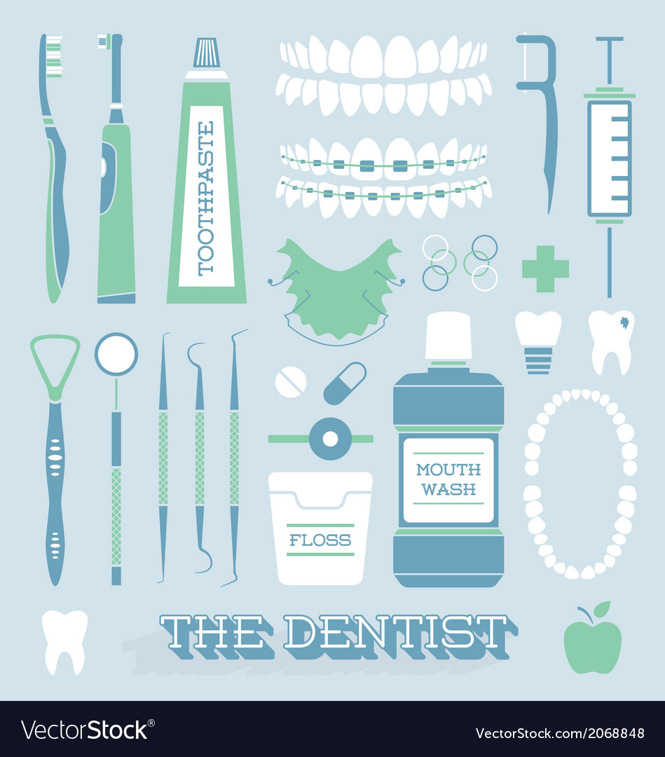 Dentist and tooth care icons vector